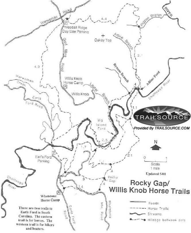 Willis Knob Horse Trail Horseback Riding Map
