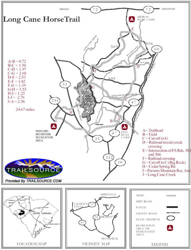 Long Cane Horse Trail Hiking Map