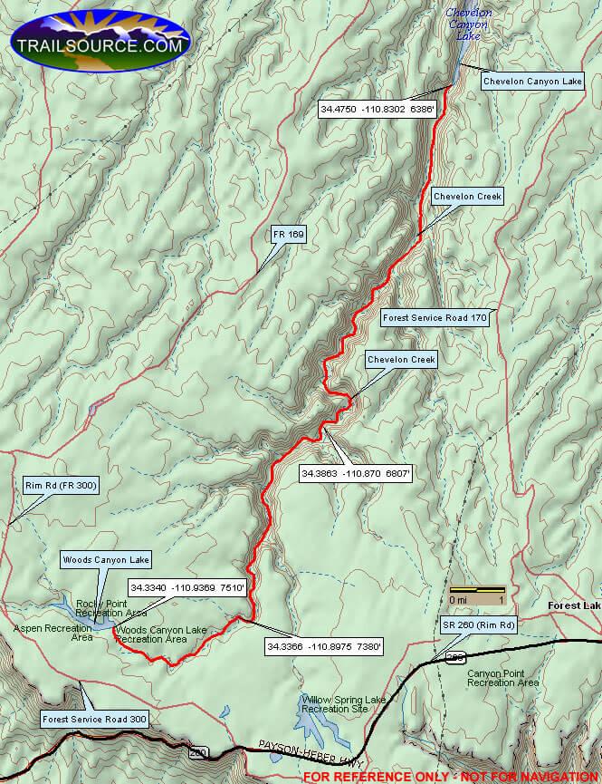 Woods Canyon Lake To Chevelon Lake Hiking Map