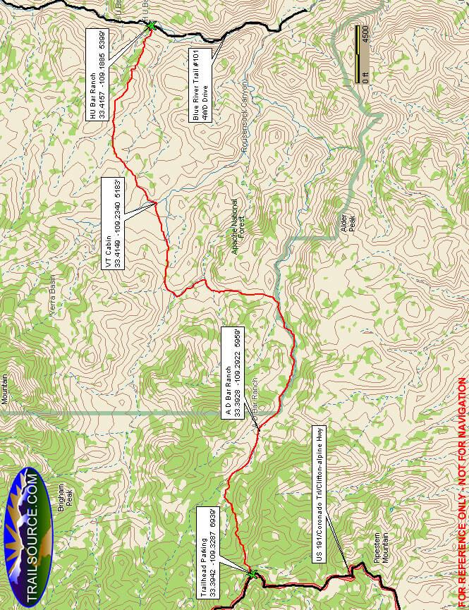 AD Bar Trail Hiking Map