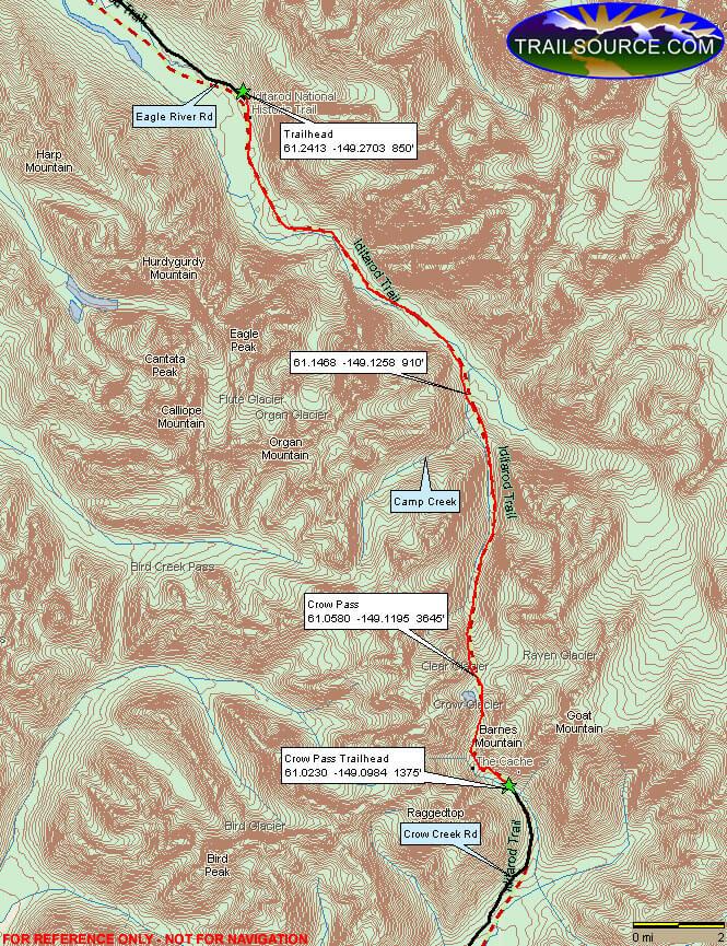 Crow Pass / Iditarod Horse Trail Horseback Riding Map