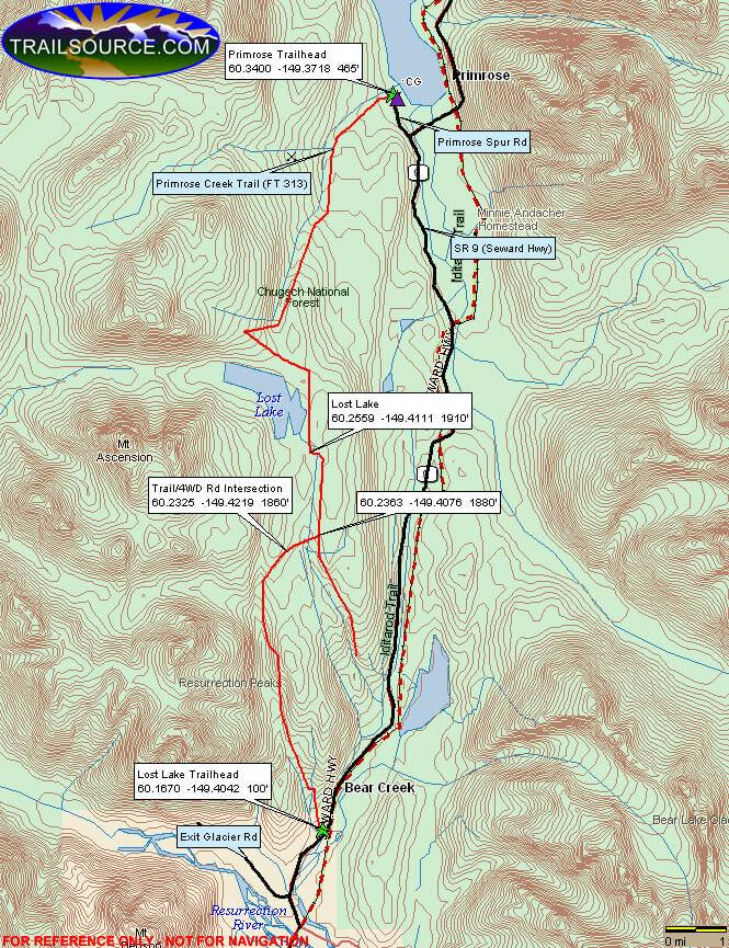 Primrose/Lost Lake Trail Hiking Map
