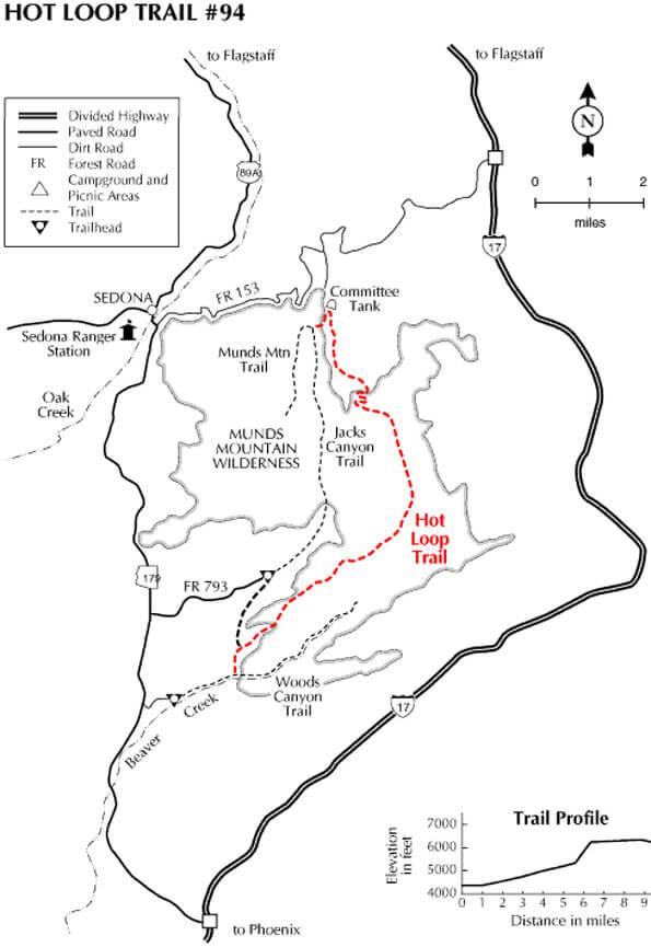 Hot Loop Trail Horseback Riding Map