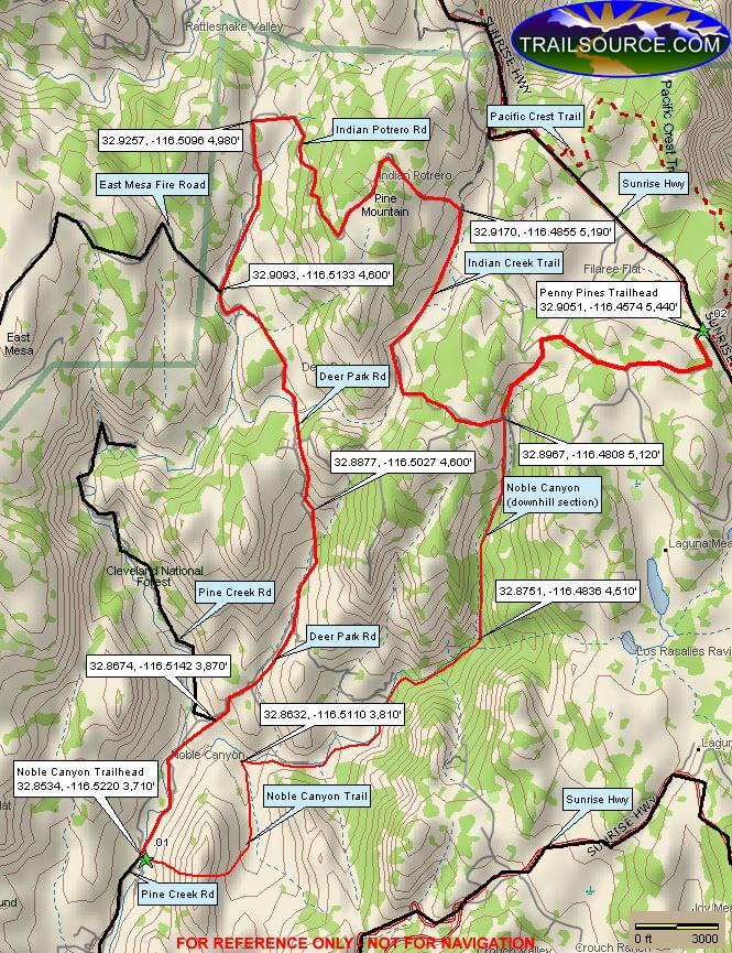 Noble Canyon Loop Hiking Map