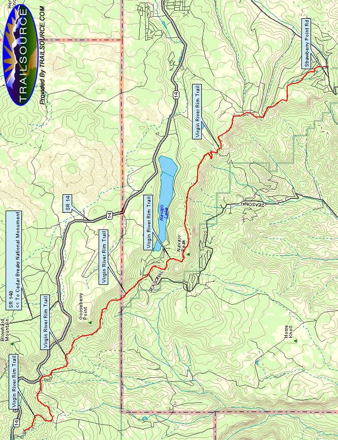 Virgin River Rim Trail Hiking Map