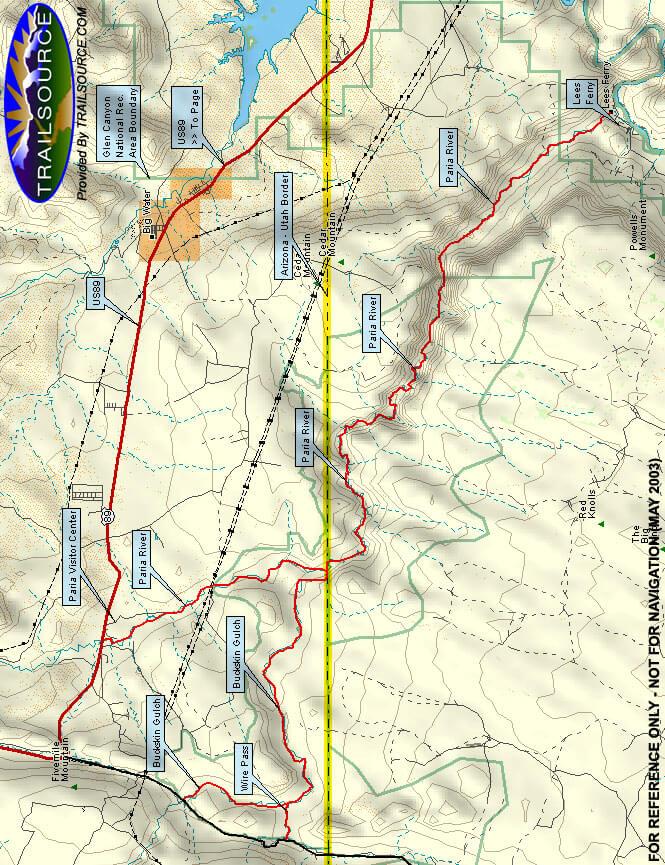 Paria River Canyon Hiking Map