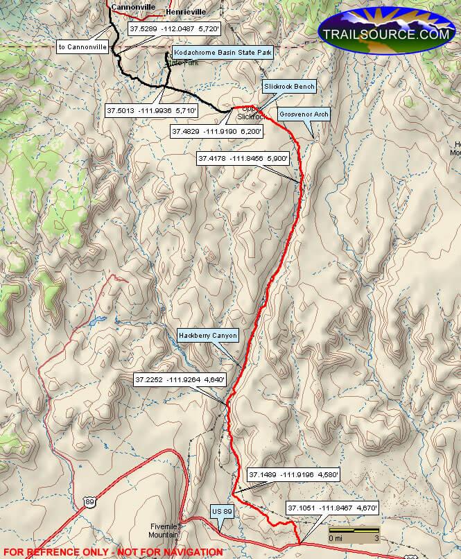 Cottonwood Road ATV Trails Map