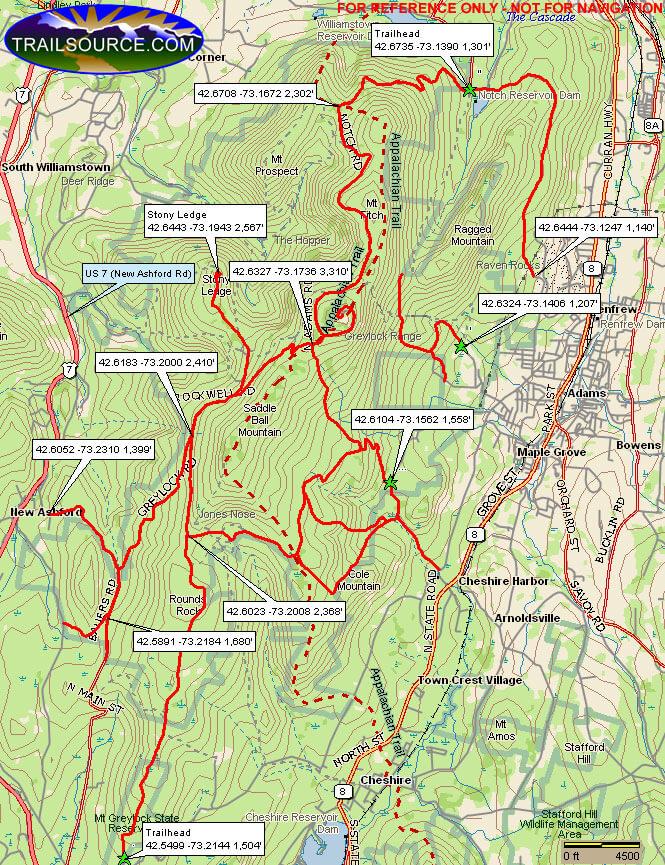 Mount Graylock State Reservation Mountain Biking Map