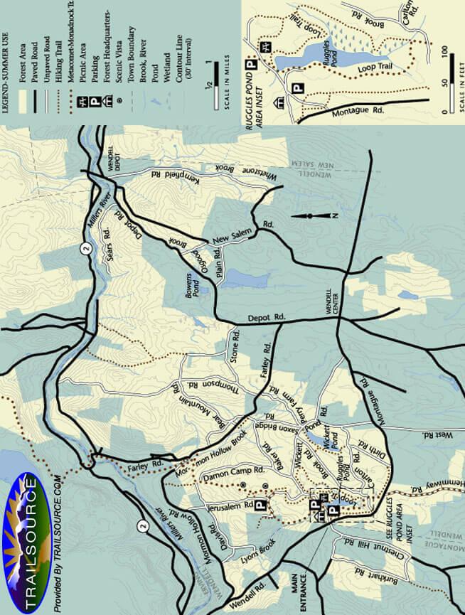 Wendell State Forest Mountain Biking Map
