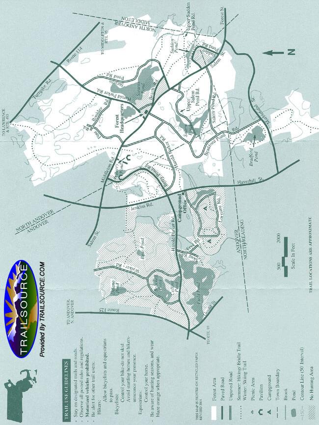 Harold Parker State Forest Hiking Map
