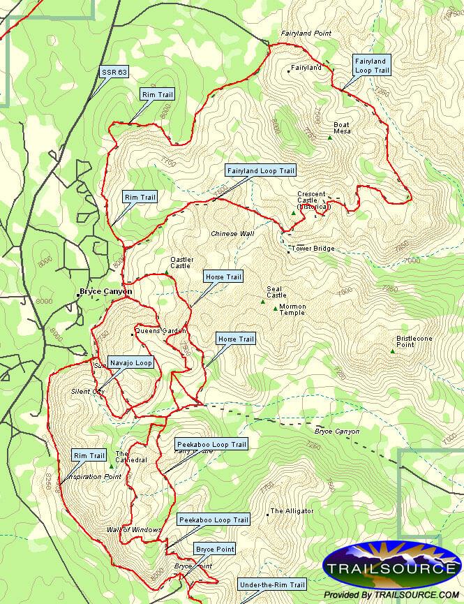 Rim Trail Hiking Map