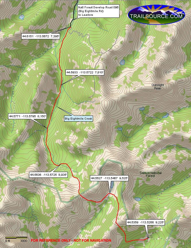 Big Eightmile Trail Horseback Riding Map
