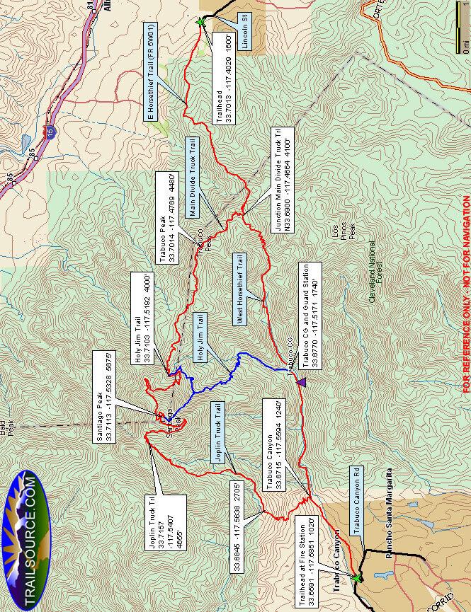 West Horse Thief / Trabuco Canyon Trails Horseback Riding Map