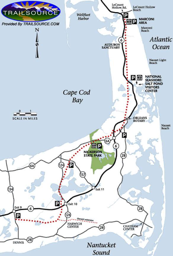 Cape Cod Trail Hiking Map