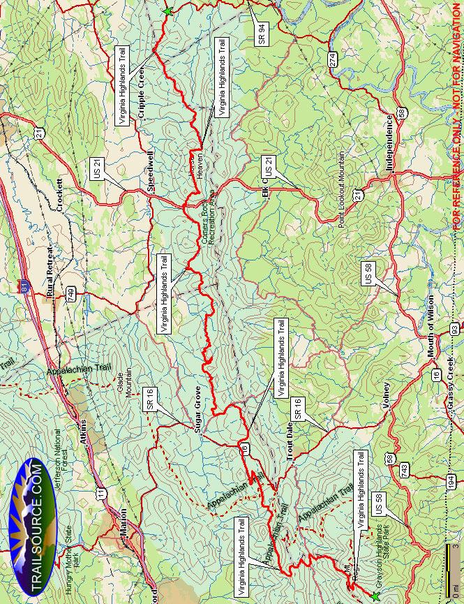 Virginia Highlands Horse Trail Horseback Riding Map