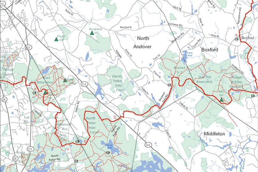 Bay Circuit Trail Hiking Map