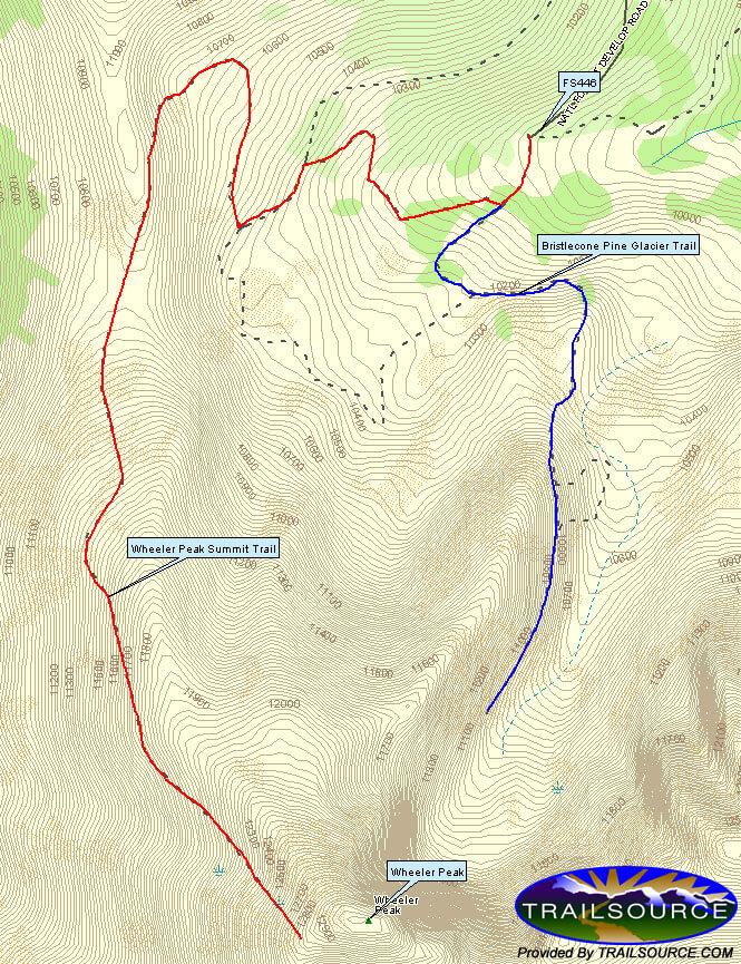 Wheeler Peak Trail Hiking Map