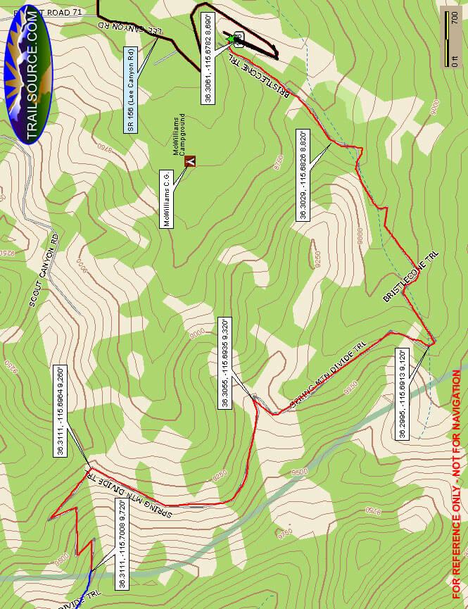 Bristlecone Pine Trail Hiking Map