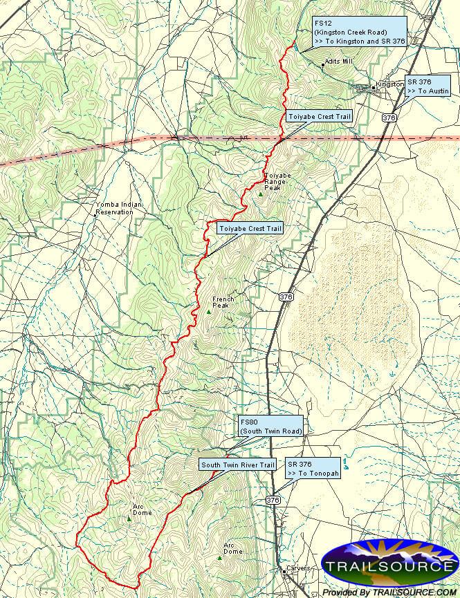 Toiyabe Crest Trail Horseback Riding Map
