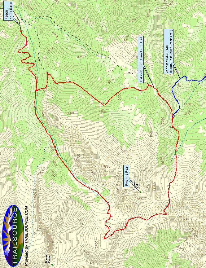 Johnson Lake / Baker Lake Loop Horseback Riding Map