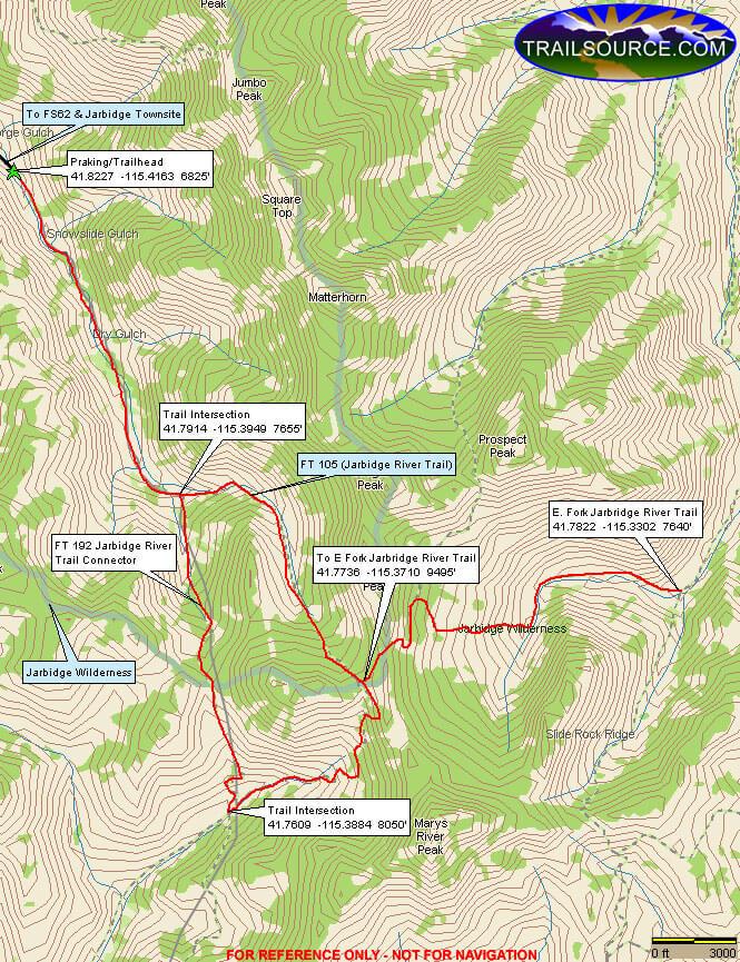 Jarbidge River Trail Horseback Riding Map