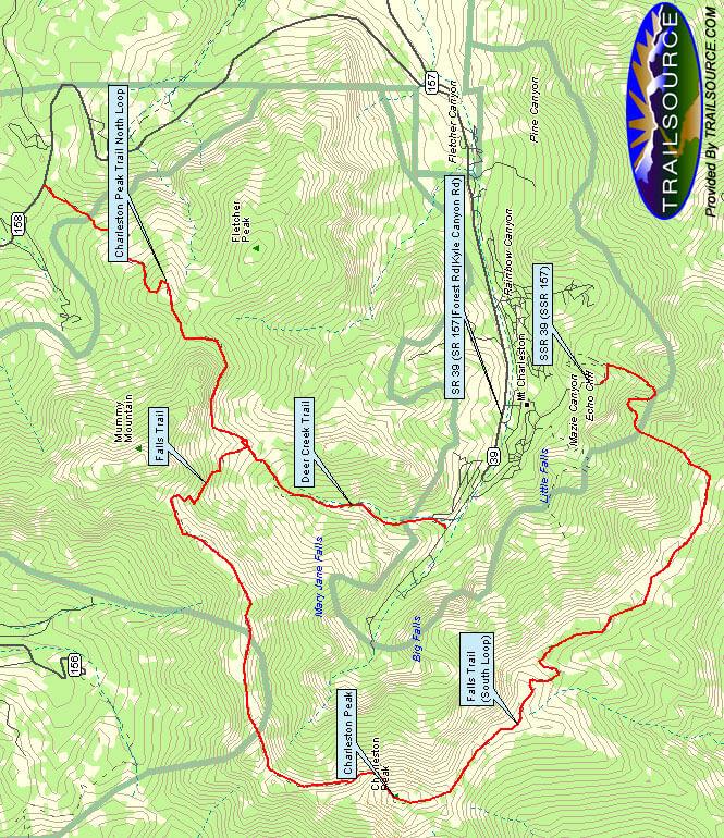 Charleston Peak / Northand South Loop Horseback Riding Map