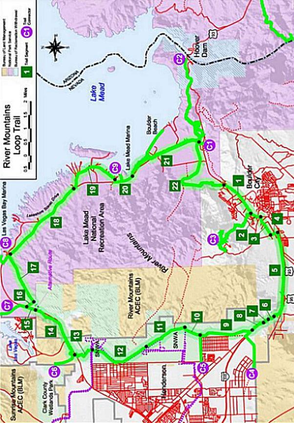 River Mountains Loop Trail Mountain Biking Map