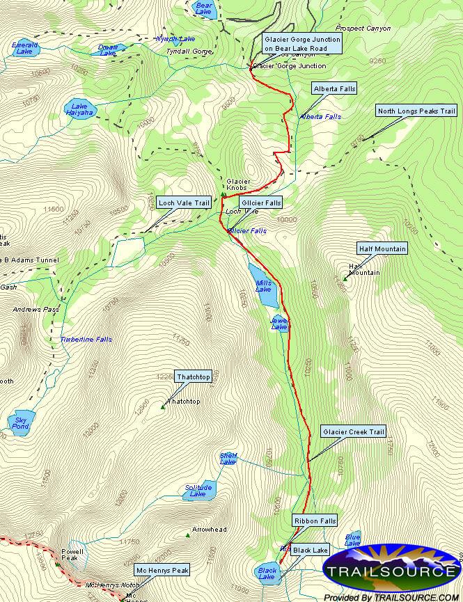 Glacier Creek Trail Hiking Map