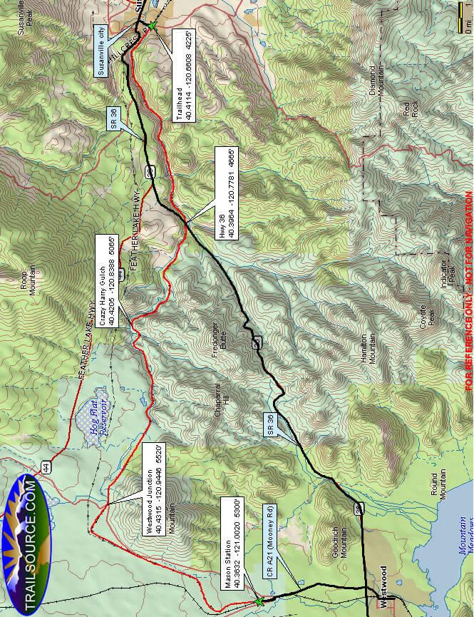 Bizz Johnson Horse Trail Horseback Riding Map