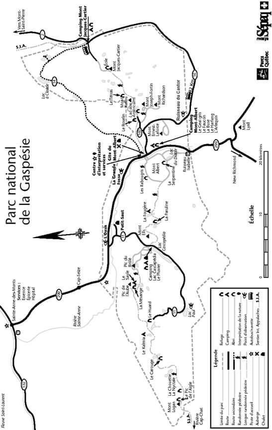 Gaspesie National Park Hiking Map