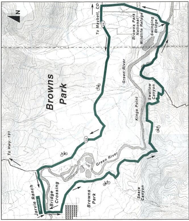 Browns Park Loop Trail Mountain Biking Map