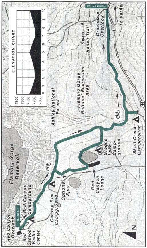 Red Canyon Rim Trail Mountain Biking Map
