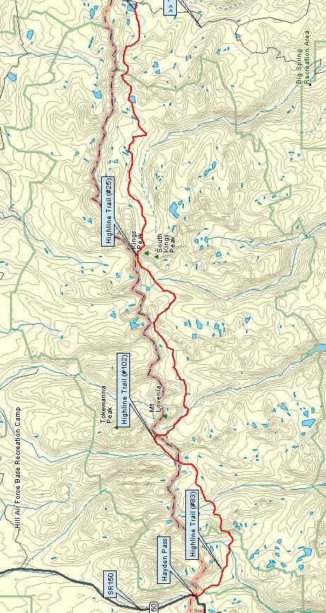 Highline Trail Horseback Riding Map