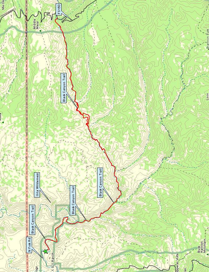 Black Canyon Trail Hiking Map