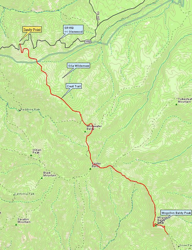 Crest Trail Hiking Map