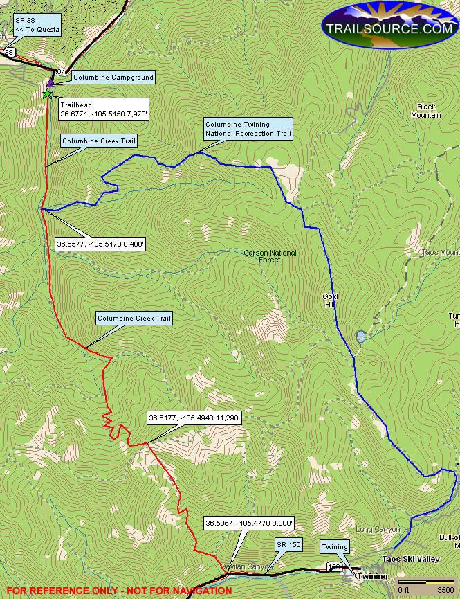 Columbine Creek Trail Cross Country Skiing Map