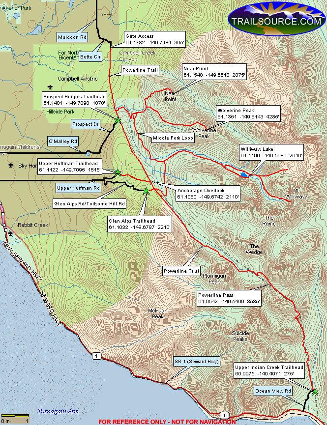 Powerline Trail Hiking Map