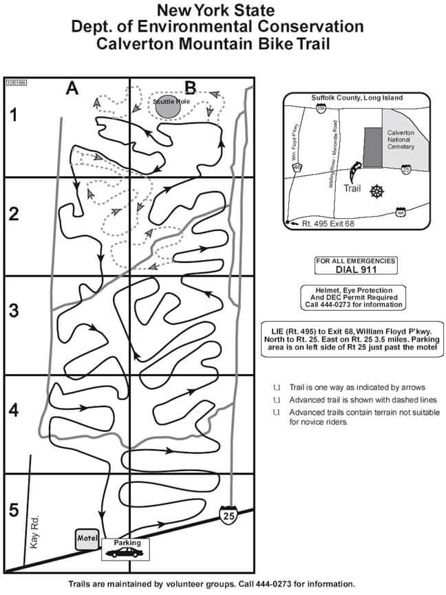 Calverton Trail Mountain Biking Map