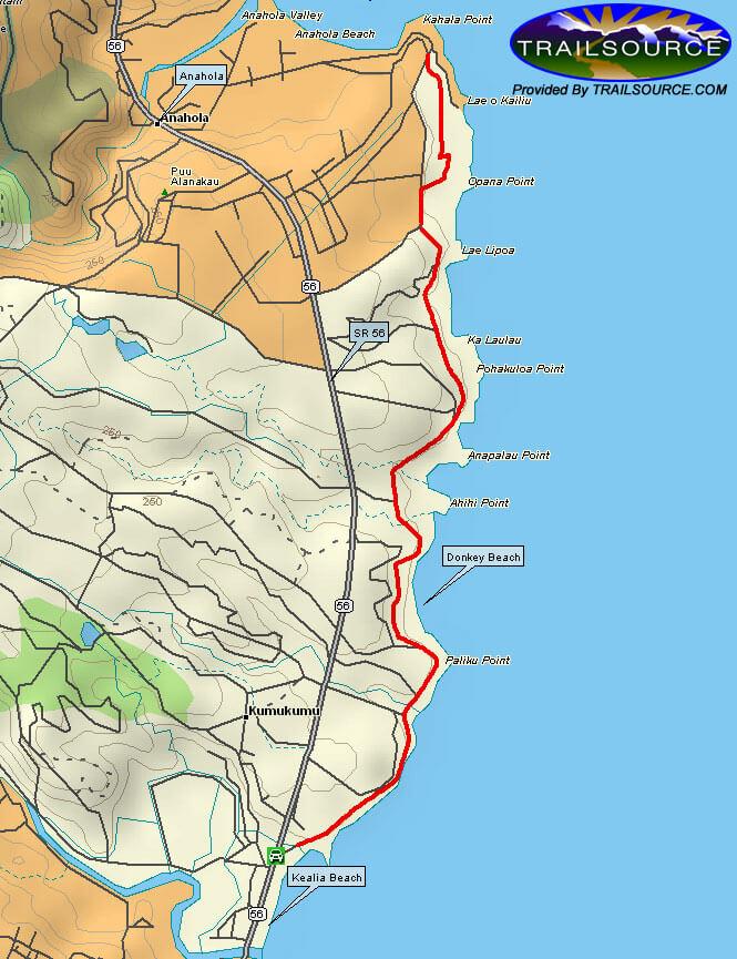 Donkey Beach - Kealia Trails Mountain Biking Map