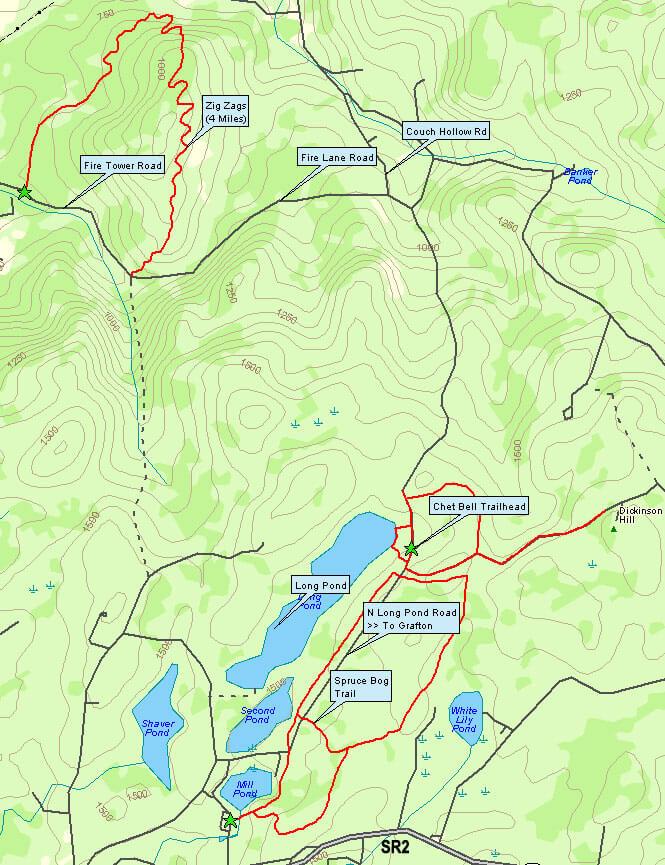 Spruce Bog Trail Mountain Biking Map