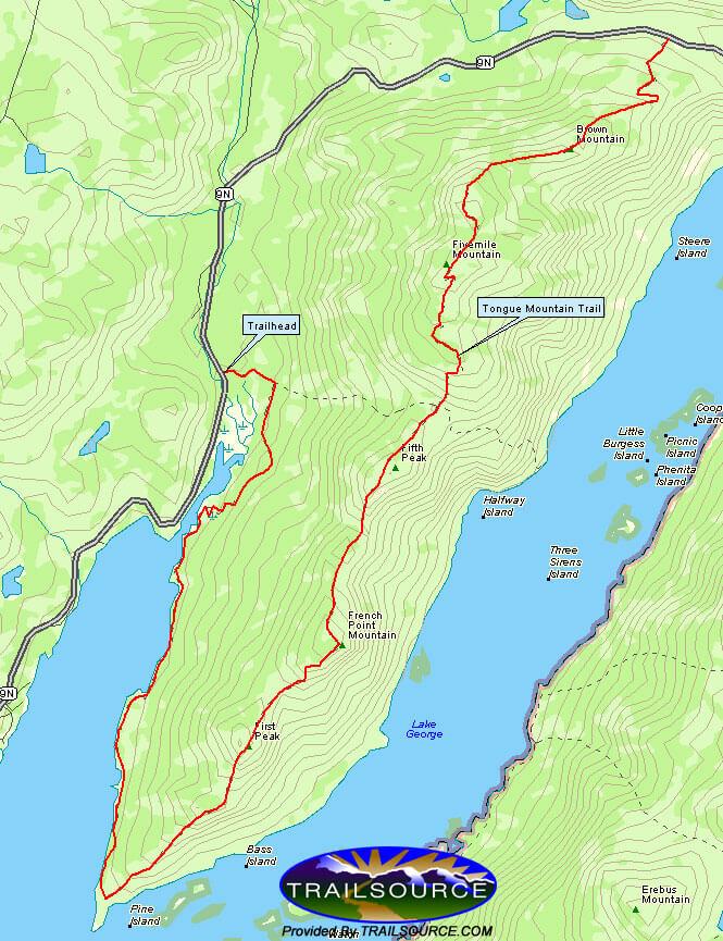 Tongue Mountain Trail Hiking Map