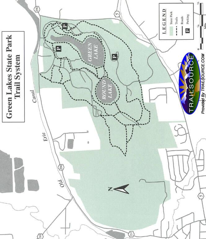 Green Lakes State Park Mountain Biking Map