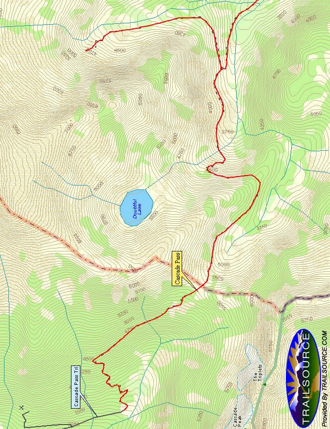 Cascade Pass Trail Hiking Map