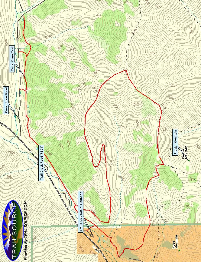 Proctor Mountain Loop Mountain Biking Map