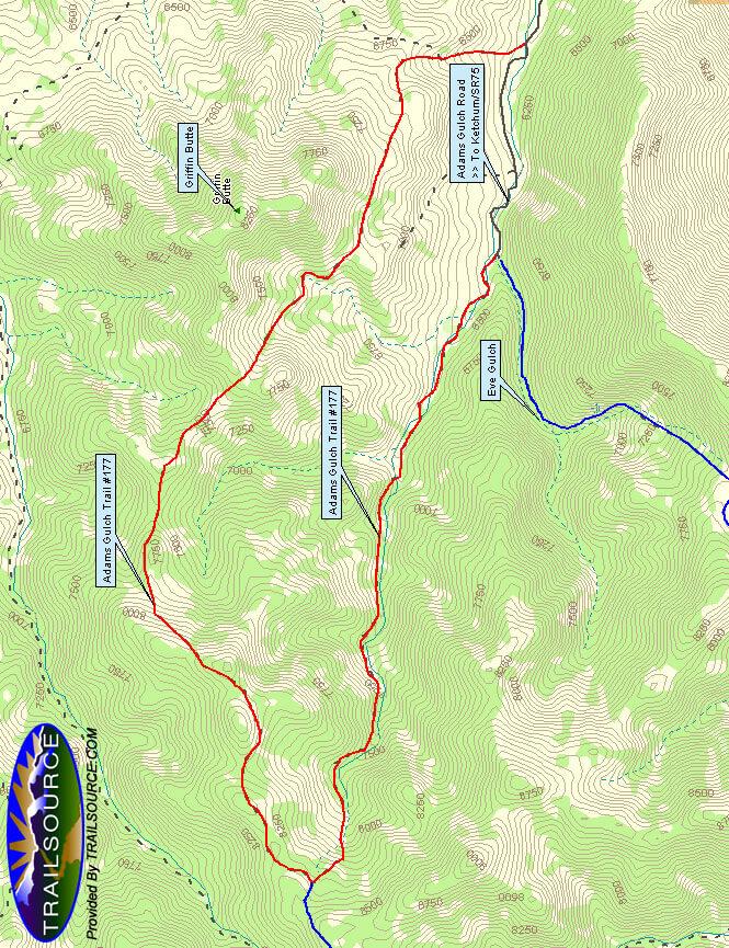 Adams Gulch Loop Horseback Riding Map