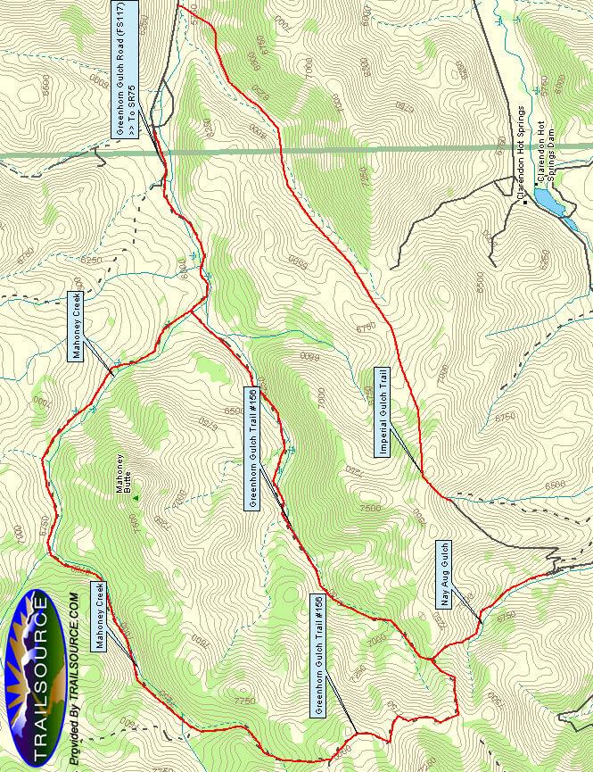 Greenhorn Gulch / Imperial Gulch Horseback Riding Map