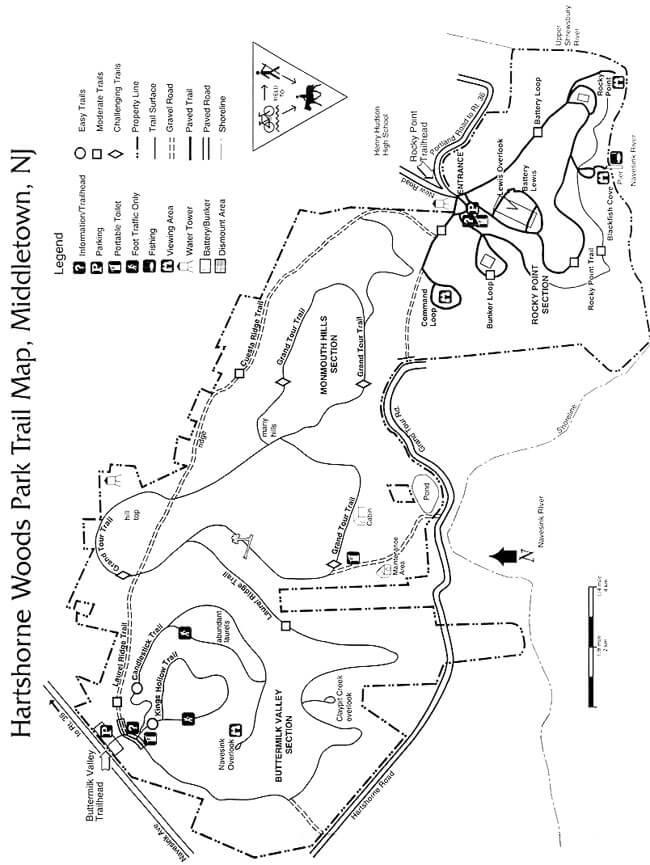 Hartshorne Woods Park Hiking Map