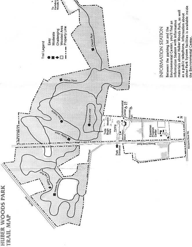 Huber Woods Park Mountain Biking Map