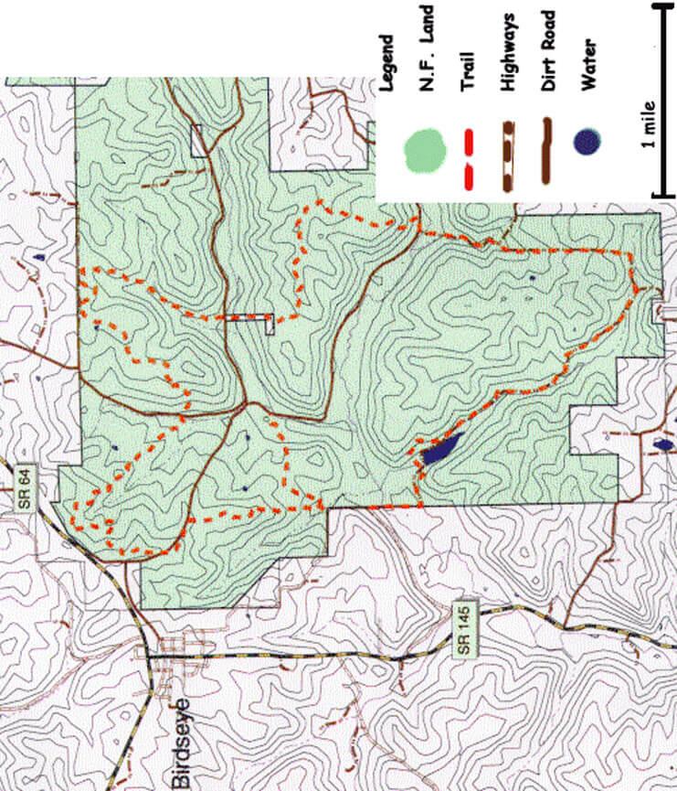 Birdseye Trail Hiking Map