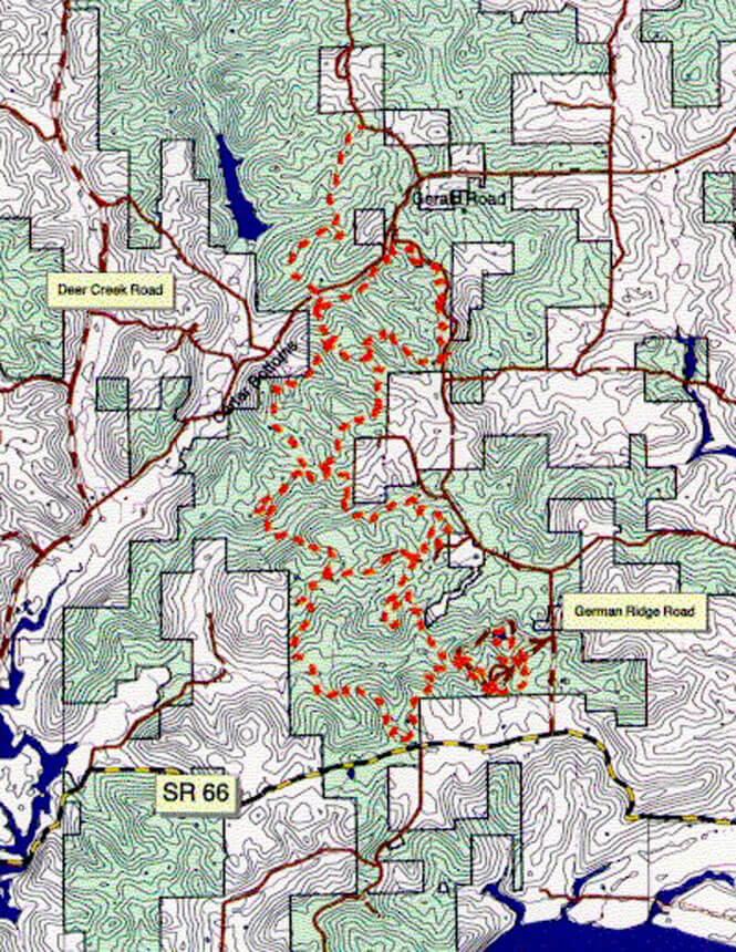 German Ridge Trail Hiking Map